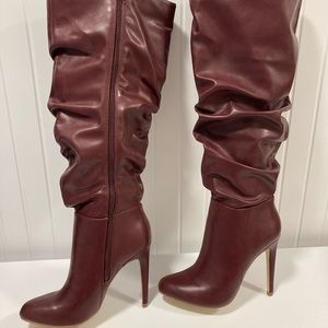 JustFab Stiletto Slouch Boots Wide Calf